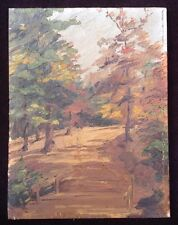 Vintage Landscape Painting Forest Trail Bridge Fall Colors Oil