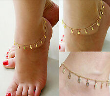 Beach summer gold pendant chain anklets tanding bare foot jewelry accessories
