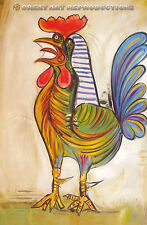 """The Rooster"", ""Le Coq"" by Picasso, Reproduction in Oil, 20""x14"""