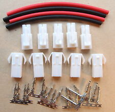 5x Pair Mini Tamiya Battery Connector + Heatshrink Car Airsoft Car Plane RC UK