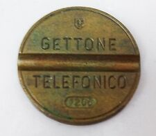 RARE EARLY BRASS GETTONE TELFONO TOKEN WITH DEPICTION OF TELEPHONE VERY SCARCE