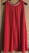 ✿✿✿ robe ROUGE sexy voile neuve STRASS fêtes NOËL taille U 34 36 38 40 ✿✿✿
