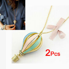 2Pcs Pack- Women Alloy Hot Air Balloon Pendant Chain Necklace-Gold Tone HE