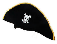 Black & Gold Pirate Hat Bucaneer Captains Cap Jack Sparrow Fancy Dress