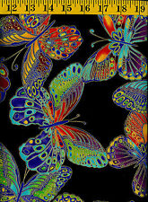 Glimmer Colorful Metallic Butterflies cotton quilt Butterfly fabric BTY Large