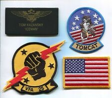 TOM ICEMAN KAZANSKY TOP GUN MOVIE F-14 TOMCAT Squadron Costume Jacket Patch Set