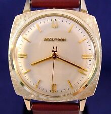 Bulova Accutron 214 10k GF filigree bezel watch with new leather strap RARE