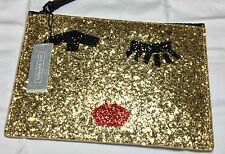 LULU GUINNESS GOLD GLITTER TAPE FACE MEDIUM GRACE POUCH CLUTCH BAG GIFT RRP£95