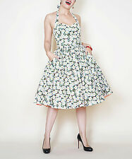 Bernie Dexter White Floral Halter Dress Size 1 XL   NWT