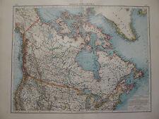 Landkarte von Britisch Nordamerika, Grönland, Lithographie, Andrees 1897