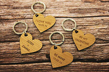 Personalised Love Heart Message Keyring for Couples Friends Valentine's Birthday