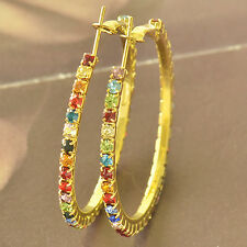 Multi Colour Cubic Zirconia 9K Solid Gold Filled Womens HOOP EARRINGS F5614