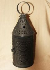 Punched tin brown Revere lantern candle holder
