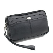 Men Real Leather Cowhide Clutch Wallet Cell Phone Cigarette Purse Wrist Hand Bag