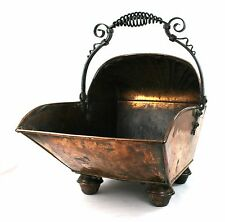 Victorian Arts & Crafts Copper & Wrought Iron Coal Scuttle Log Basket Bucket