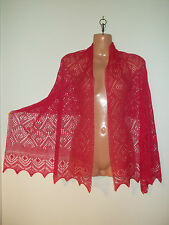 Stunning 100% pure cashmere lace shawl/scarf.  col. STRAWBERRY pink