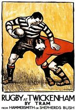 Art Poster Rugby at Twickenham Tram 1920s Travel  Print