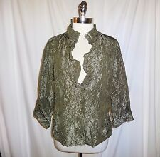 CHICO'S Size 2 12 14 L Jacket Top Green Crinkle