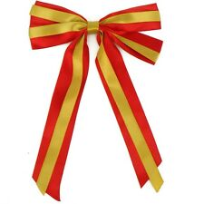 "7"" Christmas Decoration Giant Bows & Long tails x 2 Red/Gold"