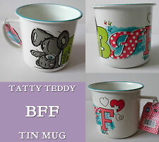 BFF TIN MUG Tatty Teddy GIFT Jigsaw Hearts HANDSTAND BEAR Blue Rim BEST FRIENDS
