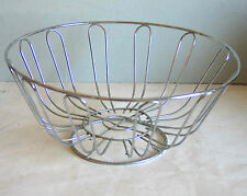 Wire Bread Fruit Bowl Basket Holder Food Storage Chrome Metal Silver FREE SH