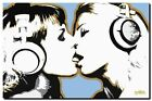 Steez DJ Girls Kissing QUALITY Canvas Art Print pop Poster- DJ ART