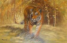 "INCREDIBLE Large Tiger Oil Painting By Painter McDonald - 3ft x 2ft (36"" x 12"")"
