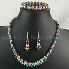 Multicolor Crystal Faceted Beads Necklace Bracelet Earrings SET G4870