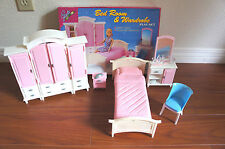 GLORIA FURNITURE BEDROOM & WARDROBE MIRROR PLAY SET DOLL HOUSE For BARBIE