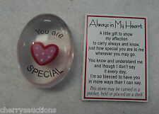 q You are special ALWAYS IN MY HEART Pocket Token Charm LOVE Ganz stone