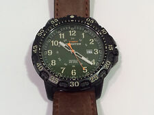Timex Expedition Indiglo Men's Watch Green Analog Dial Date Brown Band 50M WR
