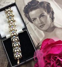 Vintage 50s AB Aurora Borealis Diamante Pearl Gold Tone Bracelet Bridal Gift Box