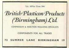 1953 British Plasticon Products Birmingham Summer Lane Ad