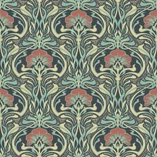 Peacock Green Retro Floral Wallpaper Art Deco Flora Nouveau by Crown M1196