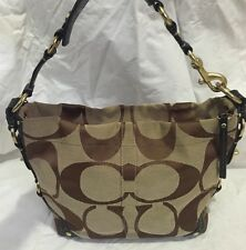 COACH #10619 Carly Signature Khaki/Brown Jacquard Hobo Shoulder Bag