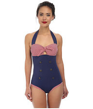 UNIQUE VINTAGE FONTAINE SAILOR ONE PIECE HALTER SWIMSUIT BLUE XSMALL NEW! $88