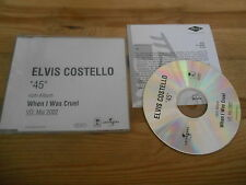 CD Pop Elvis Costello - 45 (1 Song) Promo UNIVERSAL / ISLAND sc + Presskit