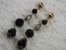 Goldtone Black Bead Pierced Earrings (D76)