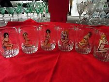 "(6) Retro Pin-up Girls Lingerie 4"" Tumblers Glasses signed BC Bartlett & Collins"