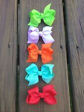 Hair Bows Set of Five Green,Orange, Mint, Red