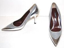 NEW DOLCE & GABBANA metallic silver women shoes PUMPS sz 39.5 US 9