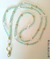 ID Badge Holder HANDMADE Gold Light Green Clear Beaded Lanyard Fashion Necklace