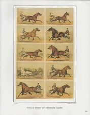 "1972 Vintage Currier & Ives ""UNCUT SHEET TROTTER CARDS"" COLOR Print Lithograph"
