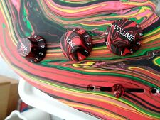 Swirl Guitar Knobs NEON RED MC Set for Ibanez Jem Universe RG S Guitar (New)