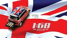 AutoDrive Mini Cooper UK Flag Car 16 GB USB Flash Drive  Memory Stick (Red)