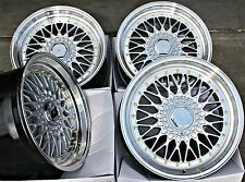 "18"" OEMS ES1 RS STYLE ALLOY WHEELS DEEP DISH SILVER POL LIP STAGGERED 18"" ALLOYS"