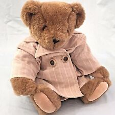 "Vermont Teddy Bear Jointed Honey Brown Girl 15"" Trench Coat Complete Companion"