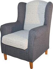 Sillon butaca orejero tapizado blanco y gris de salon comedor. Envío montado