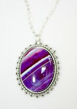 Agate Stone Pendant Necklace Oval Cabochon Purple / White ~ Jewelry Gift For Her