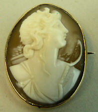A FINE QUALITY 9K GOLD CARVED SHELL CAMEO BROOCH C.1890
